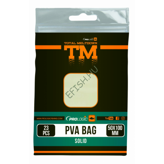 PROLOGIC TM PVA Solid Bullet Bag W/Tape 15pcs 40X100mm zsák zárószalaggal