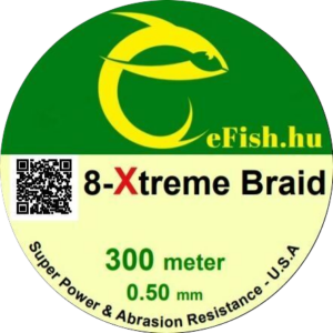 eFISH XTreme 8-BRAID 500M 0.50MM HARCSÁZÓ FONOTT ZSINÓR SÁRGA
