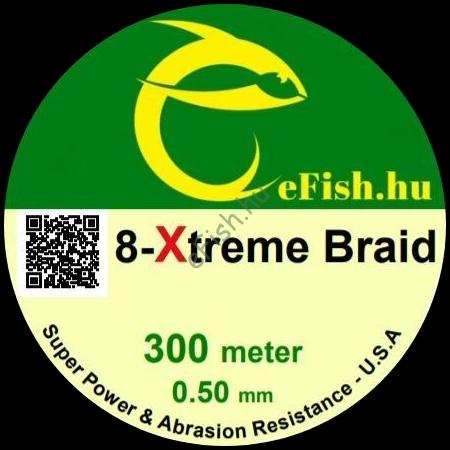 eFISH XTreme 8-BRAID 300M 0.50MM HARCSÁZÓ FONOTT FŐZSINÓR FLUO ZÖLD