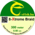 eFISH XTreme 8-BRAID 300M / 0.50MM HARCSÁZÓ FONOTT FŐZSINÓR FLUO ZÖLD